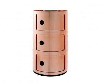 Componibili Metallic 5967 Ø32cm Container mit 3 Fächern kupfer
