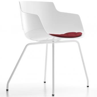 Flow Slim Chair Vierbein weiss | weiss matt | ohne | ohne