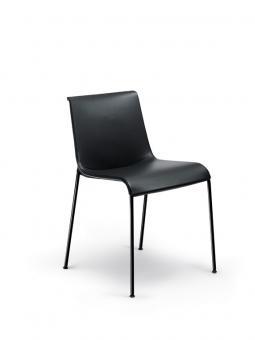 Liz Stuhl ohne Armlehnen | Stoff (Gruppe 23) | hochglanz-pulverbeschichtet schwarz