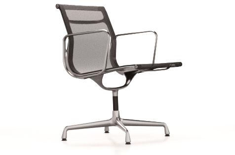 designwebstore | Aluminium Chair EA 107108 Stuhl mit Netzgewebe poliert | dunkelgrau | nicht drehbar EA107 | für Teppichböden