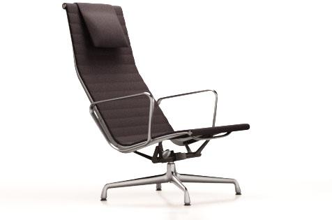 designwebstore | Aluminium Chair EA 124 Lounge Chair mit Hopsak Stoff poliert | dunkelgraunero