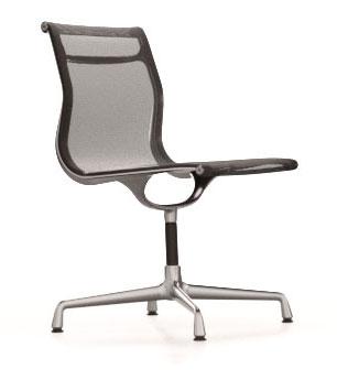 designwebstore | Aluminium Chair EA 101 Stuhl mit Netzgewebe poliert | dunkelgrau | für Teppichböden